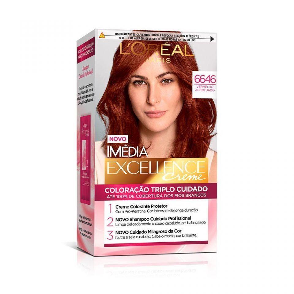 Tintura Permanente L'Oréal Paris Imédia Excellence 6.646 Vermelho Acentuado